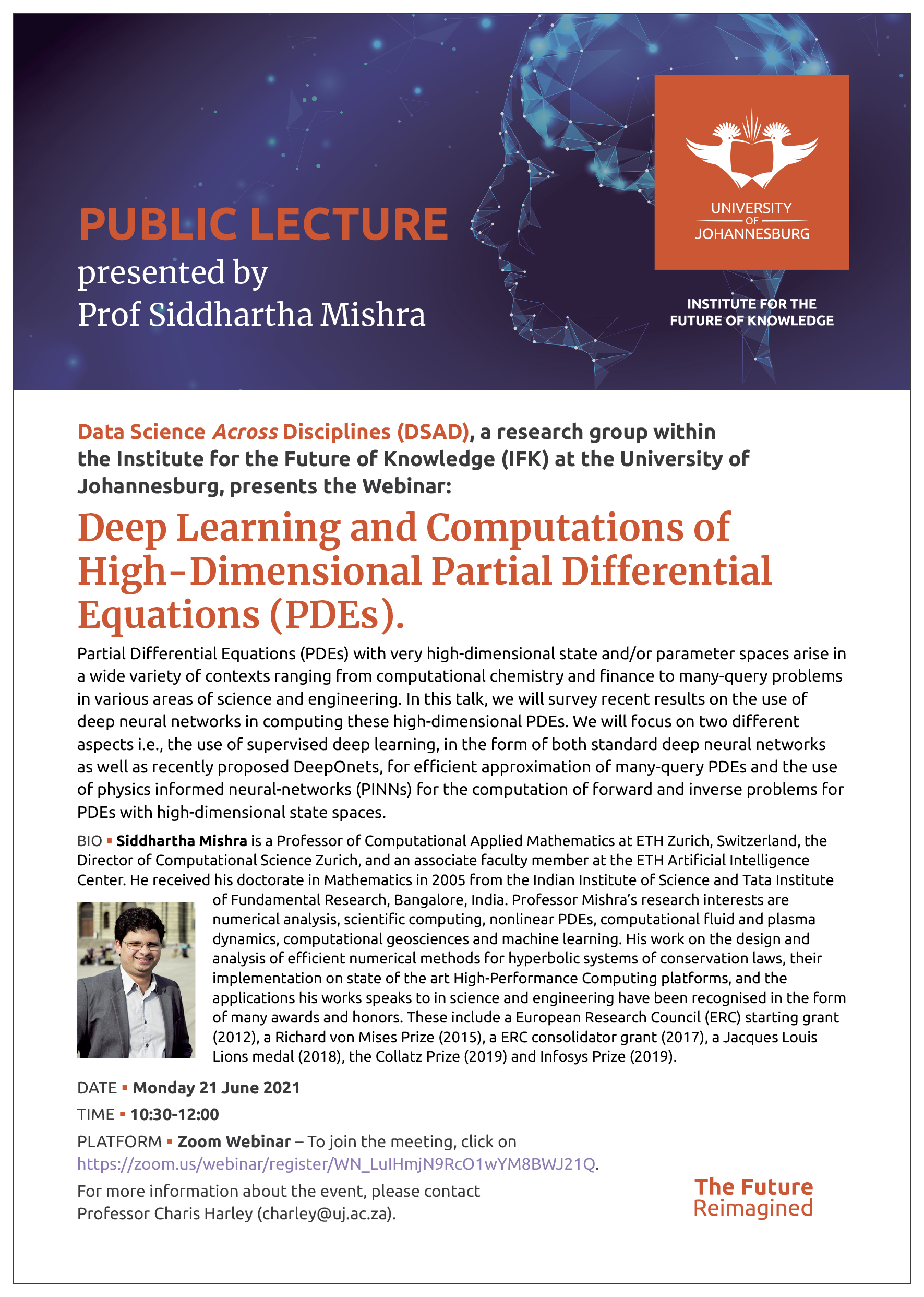 Webinar: Deep Learning and Computations of High-Dimensional Partial Differential Equations (PDEs)