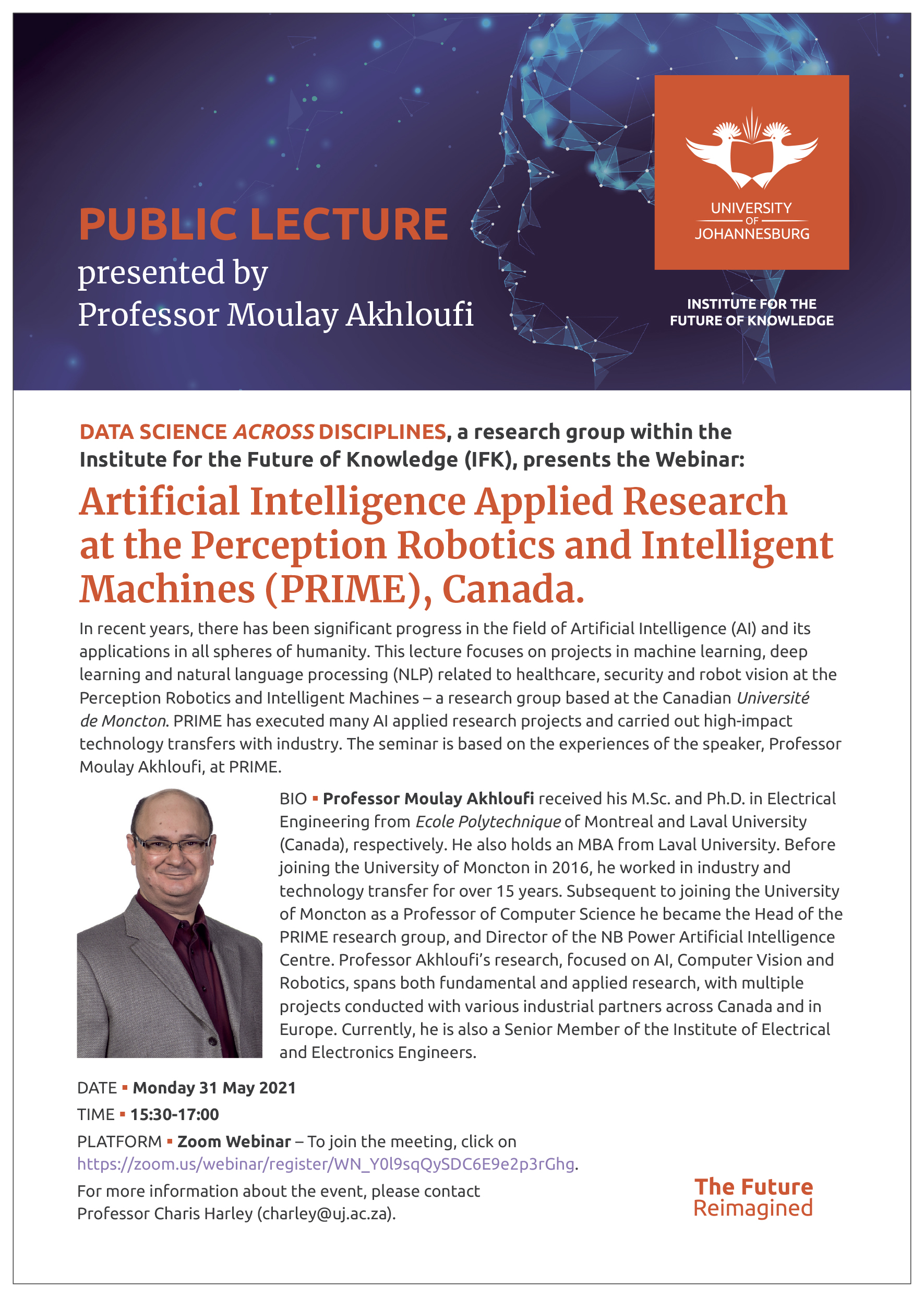Webinar: Artificial Intelligence Applied Research at the Perception Robotics and Intelligent Machines (PRIME), Canada