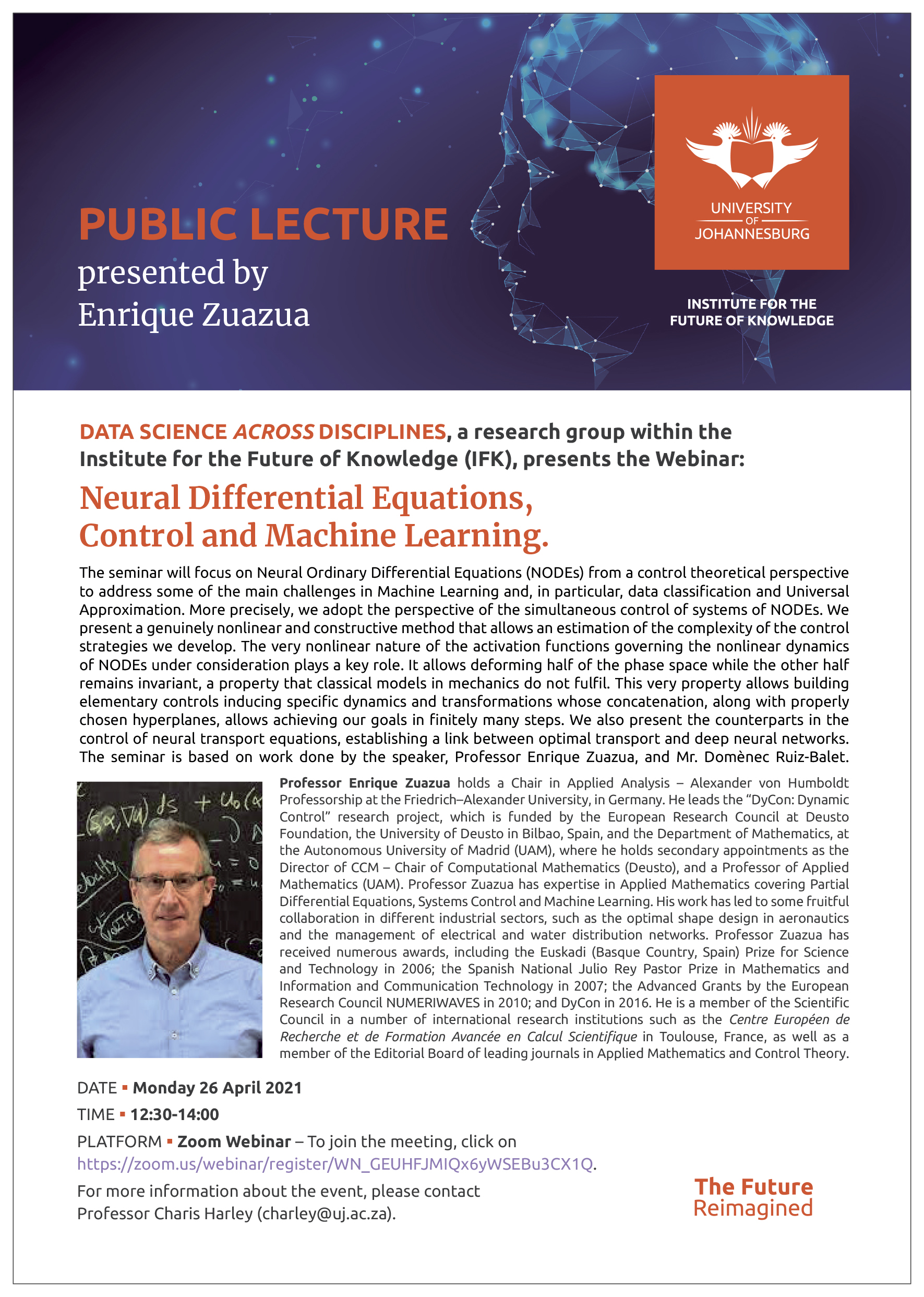 Webinar: Neural Differential Equations, Control and Machine Learning