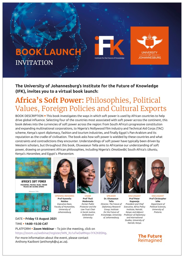 Virtual Book Launch: Africa's Soft Power: Philosophies, Political Values, Foreign Policies and Cultural Exports